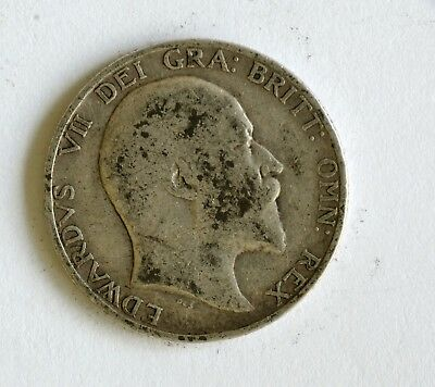 1902 Edward VII sterling silver shilling coin - British Silver Coin - A58
