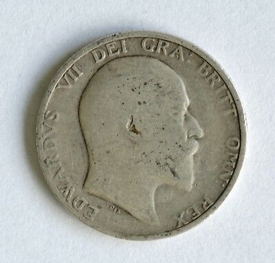 1908 Edward VII sterling silver shilling coin - British Silver Coin - A46