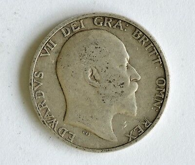 1910 Edward VII sterling silver shilling coin - British Silver Coin - A63