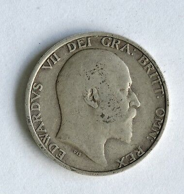 1910 Edward VII sterling silver shilling coin - British Silver Coin - A43
