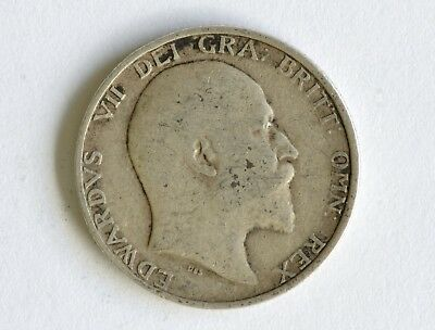 1910 Edward VII sterling silver shilling coin - British Silver Coin - A77