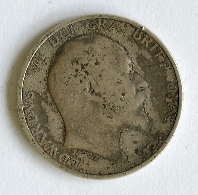 1910 Edward VII sterling silver shilling coin - British Silver Coin - A62