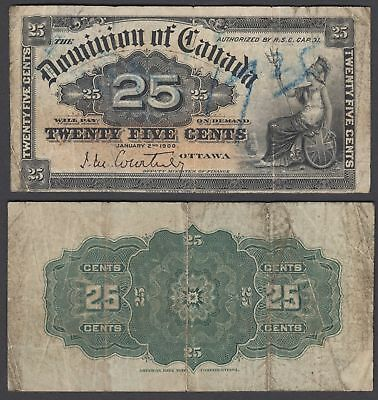 Canada 25 Cents 1900 (VG) Condition Banknote P-9