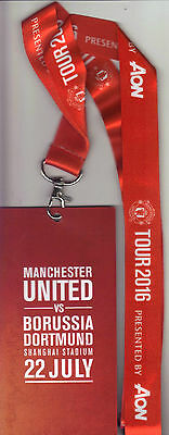 2016/17   Manchester United   v   Borussia Dortmund  In China VIP Pass & Lanyard