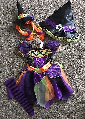 Tu Girls Witch Outfit ~ Dress, Hats & Tights Age 1 ~ 2 Years Bnwt Halloween