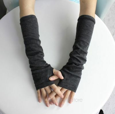Hot Women Winter Knitted Wrist Arm Hand Warmer Long Mitten Fingerless Gloves US