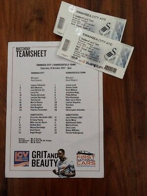 Swansea City v Huddersfield Town Colour Team Sheet & 2 Used Tickets.