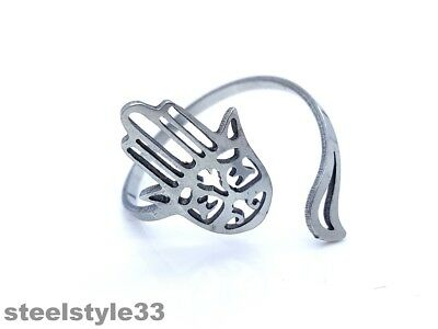 Women's Ring Band Stainless Steel 316L  Adjustable Fatima's Hand Silver Tone