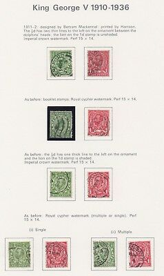 Lot:23515  GB GV  1911-2 Harrison printed selection  1912-22 definitive selectio