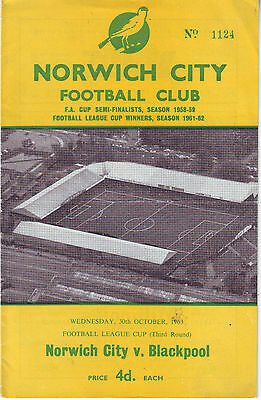 Norwich City V Blsckpool 30 Oct 1963 League Cup 54 Years Ago  Vgc