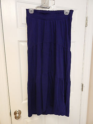 old navy maternity blue soft boho hippie tiered maxi skirt S small
