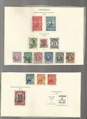 Uruguay 1910 to 1919 collection on vintage printed pages