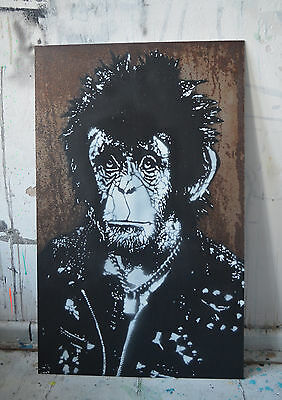 NOIR - Chimp Vicious Original streetart banksy urban art street pop rusty metal