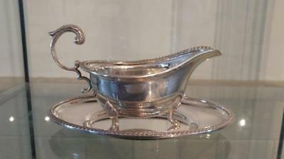 Elegant Antique Silver Plated J B Chatterley Gravy / Sauce Boat with Underplate