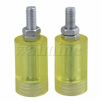 Flat 36mm Dia 60mm Heigh M12 Thread PP Guiding Wheel Transparent Yellow