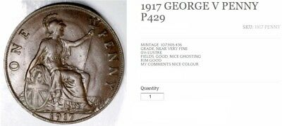 1917 George V One Penny P429, Low Grade, Please See Photos