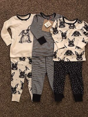 Next S/s 2017 3 Pk Navy/white Bunny Rabbit Snuggle Pyjamas Age 9 ~ 12 Mths Bnwt
