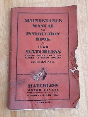 Matchless 350 500 Maintenance Instruction Book Touring Competition 1953 Models