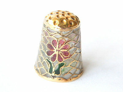 Vintage Plique a Jour Sewing Thimble Stained Glass Effect, France