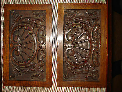 Pair Antique Victorian Solid Wood Carved Plaques Panels Wall Hanging