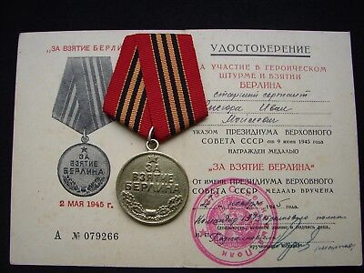 Soviet Russian Medal For the Capture of Berlin USSR Original Mount + DOC