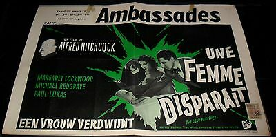 1938 The Lady Vanishes ORIGINAL BELGIAN POSTER Alfred Hitchcock