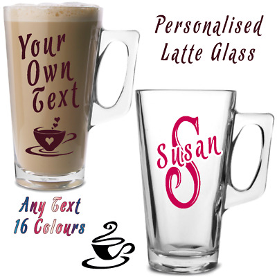 Personalised Latte Coffee Glass 13.25oz Any Text / Image FREE DELIVERY