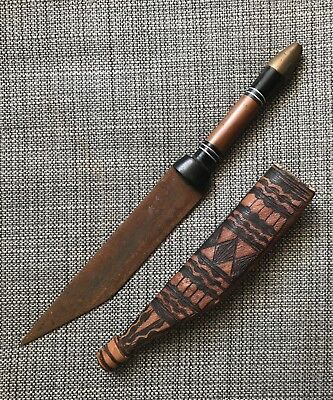 African Tribal Dagger Knife With Decorated Leather Sheath Scabbard