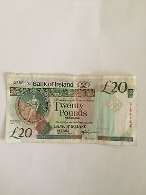 28 May 1993 Bank of Ireland £20 note Great for collection rare out of cirulation