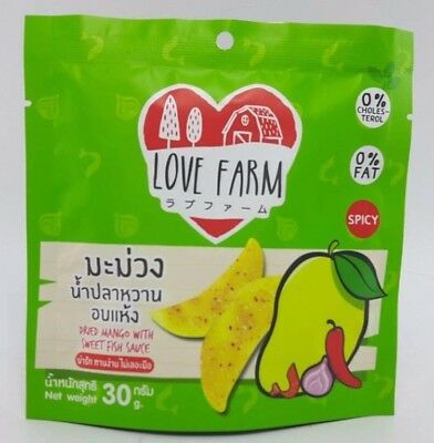 dried mango with sweet fish sauce product of Thailand Love Farm brand