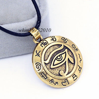 Egyptian Eye of Horus Ankh Ra Udjat Gold Pendant Amulet Leather Chain Necklace