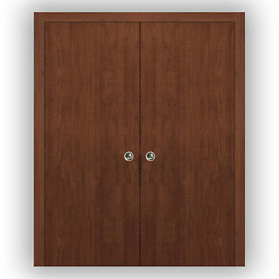 Planum 0010 Interior Double Pocket Sliding Closet Doors Walnut Modena with Frame