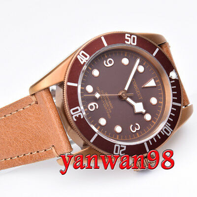 41mm Corgeut Coffee Dial brass coated sapphire glass Miyota automatic mens watch
