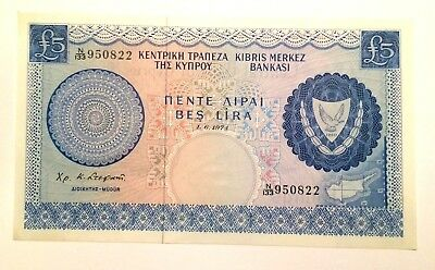 Central Bank of Cyprus 5 Pound Banknote  1.6.1974 AUNC-UNC Rare Note