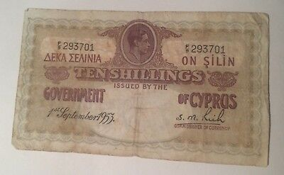Cyprus 10 Shillings Banknote 1st September 1953 King George VI Rare Note