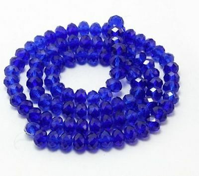 New 6x8mm 70-72pcs blue Crystal Faceted Clear Loose Beads