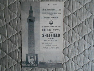 Grimsby V Sheffield Utd Second Division Match Programme March 1958