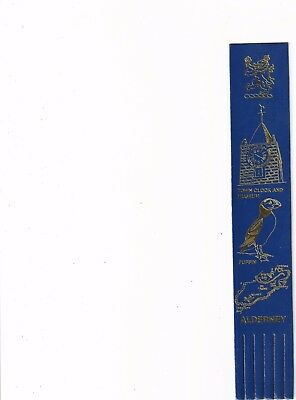 LEATHER BOOKMARK - ALDERNEY in the, CHANNEL ISLANDS.