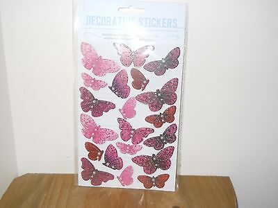 1 Brand New Pack Of 20 Pink Butterfly Toppers For Cards