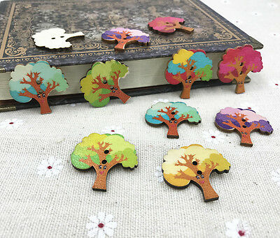 25pcs Wooden buttons Mixed Fit Sewing Scrapbooking Cartoon tree Buttons 28mm
