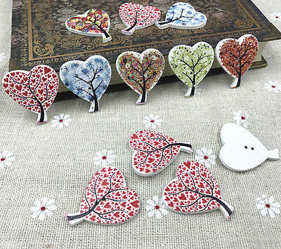 25X Mix Wood buttons Heart-shaped Tree Sewing scrapbooking Handmade crafts 30mm