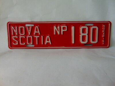1970's  Red Nova Scotia Utility Vehicle License Plate #NP 180 no expiry