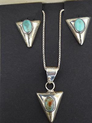 Navajo Silversmith turquoise pendant and earrings