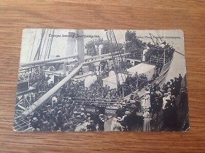 1909 Postcard showing 1500 troops leaving for war from Southampton