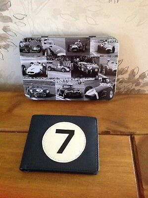 Leather Wallet.Stirling Moss in a Tin with No 7 on it.New