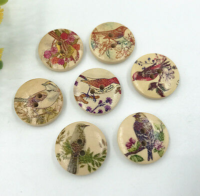 25pcs Wooden Buttons Fit sewing clothes scrapbooking Flowers birds pattern 20mm