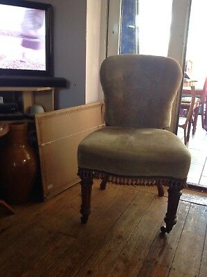Victorian Upholstered Chair Pale Gold Colour On Reeded Legs
