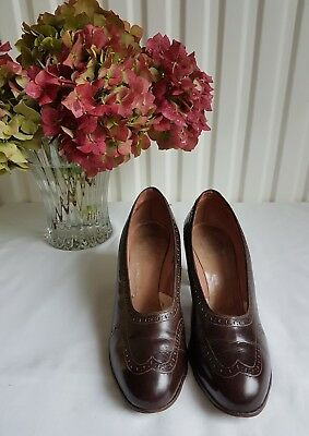 Genuine Vintage 1940's Dolcis Debutante brown leather shoes Size 4.5