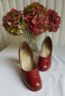 Genuine Vintage 1940's red leather shoes Size 3