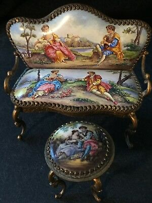Antique Vintage Limoges France Miniature Cafe Table & Settee Courting Couple